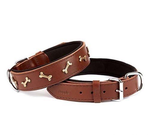 Doggie Comfort Deri Kemik Süslü Köpek Boyun Tasması Large Kahverengi 3.5x52-60 Cm