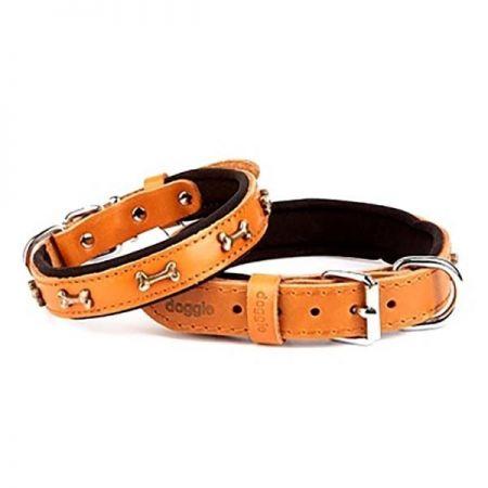 Doggie Comfort Deri Kemik Süslü Köpek Boyun Tasması Medium Camel 2x35-40 Cm
