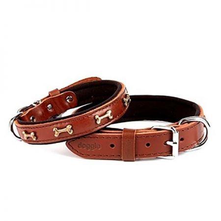 Doggie Comfort Deri Kemik Süslü Köpek Boyun Tasması Medium Kahverengi 2x35-40 Cm