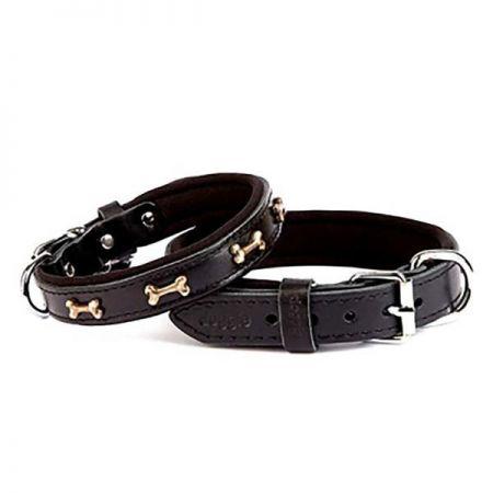 Doggie Comfort Deri Kemik Süslü Köpek Boyun Tasması Medium Siyah 2x35-40 Cm