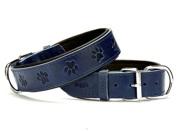 Doggie Comfort Deri Pati Desenli Köpek Boyun Tasması Large Mavi 4x57-65 Cm