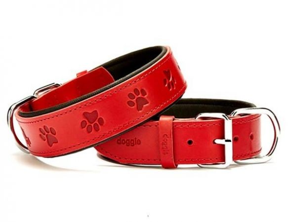 Doggie Comfort Deri Pati Desenli Köpek Boyun Tasması Large Kırmızı 4x57-65 Cm