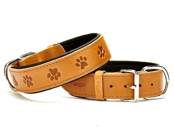 Doggie Comfort Deri Pati Desenli Köpek Boyun Tasması Medium Camel 4x52-60 Cm