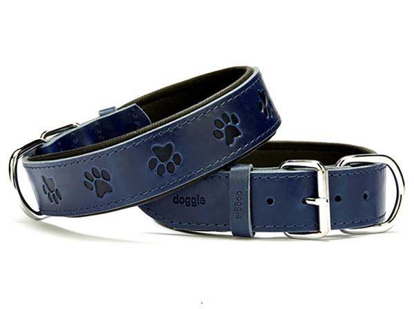 Doggie Comfort Deri Pati Desenli Köpek Boyun Tasması Medium Mavi 4x52-60 Cm