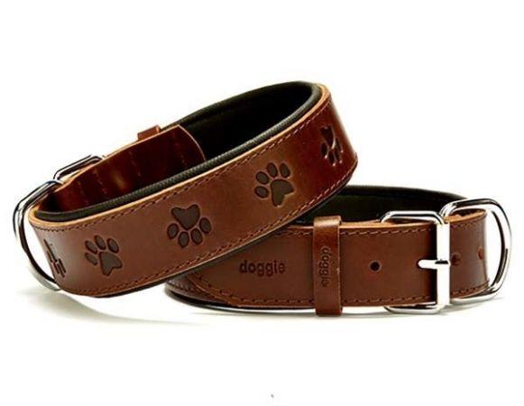 Doggie Comfort Deri Pati Desenli Köpek Boyun Tasması Medium Kahverengi 4x52-60 Cm