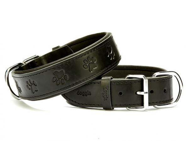 Doggie Comfort Deri Pati Desenli Köpek Boyun Tasması Medium Siyah 4x52-60 Cm
