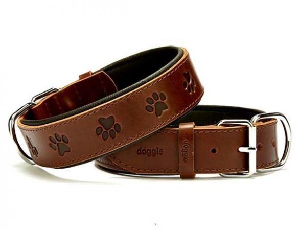 Doggie Comfort Deri Pati Desenli Köpek Boyun Tasması Small Kahverengi 4x47-55 Cm