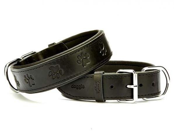 Doggie Comfort Deri Pati Desenli Köpek Boyun Tasması Small Siyah 4x47-55 Cm