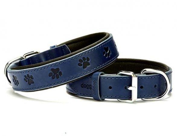 Doggie Comfort Deri Pati Desenli Köpek Boyun Tasması Medium Mavi 3x42-50 Cm