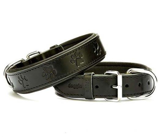 Doggie Comfort Deri Pati Desenli Köpek Boyun Tasması Large Siyah 3.5x52-60 Cm
