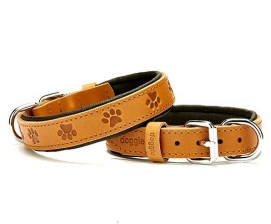 Doggie Comfort Deri Pati Desenli Köpek Boyun Tasması Medium Camel 2.5x37-45 Cm
