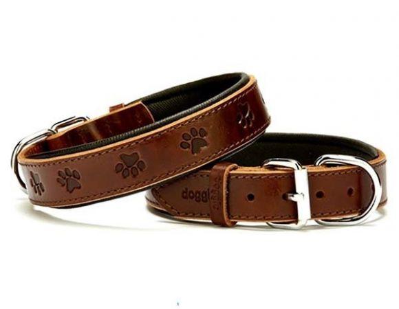 Doggie Comfort Deri Pati Desenli Köpek Boyun Tasması Medium Kahverengi 3x42-50 Cm