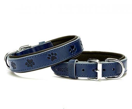 Doggie Comfort Deri Pati Desenli Köpek Boyun Tasması Medium Mavi 2.5x37-45 Cm