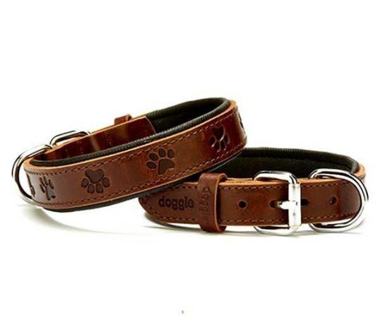 Doggie Comfort Deri Pati Desenli Köpek Boyun Tasması Medium Kahverengi 2.5x37-45 Cm