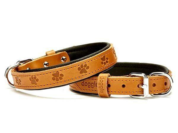 Doggie Comfort Deri Pati Desenli Köpek Boyun Tasması Medium Camel 2x35-40 Cm