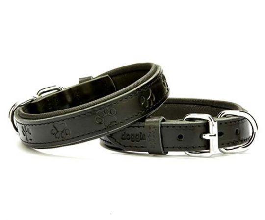 Doggie Comfort Deri Pati Desenli Köpek Boyun Tasması Medium Siyah 2.5x37-45 Cm