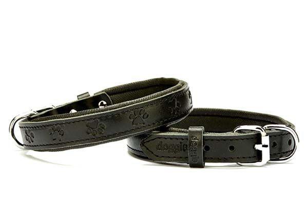 Doggie Comfort Deri Pati Desenli Köpek Boyun Tasması Medium Siyah 2x35-40 Cm