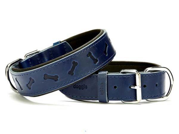 Doggie Comfort Deri Kemik Desenli Köpek Boyun Tasması Large Mavi 4x57-65 Cm