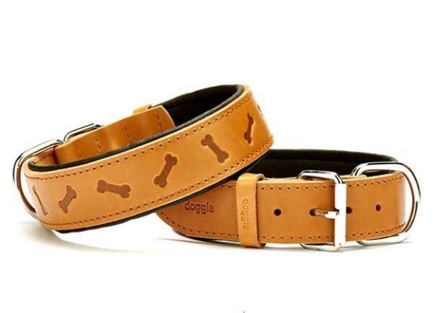 Doggie Comfort Deri Kemik Desenli Köpek Boyun Tasması Medium Camel 4x52-60 Cm