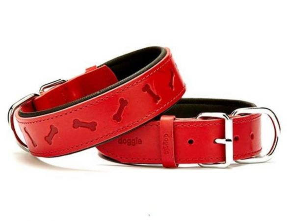 Doggie Comfort Deri Kemik Desenli Köpek Boyun Tasması Large Kırmızı 4x57-65 Cm