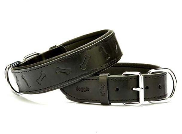 Doggie Comfort Deri Kemik Desenli Köpek Boyun Tasması Large Siyah 4x57-65 Cm