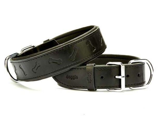 Doggie Comfort Deri Kemik Desenli Köpek Boyun Tasması Medium Siyah 4x52-60 Cm