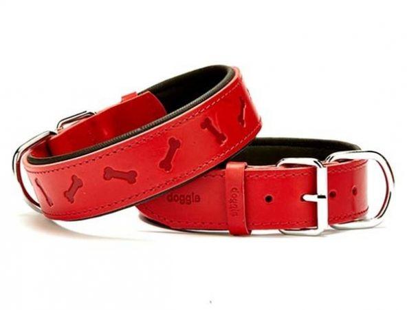 Doggie Comfort Deri Kemik Desenli Köpek Boyun Tasması Medium Kırmızı 4x52-60 Cm