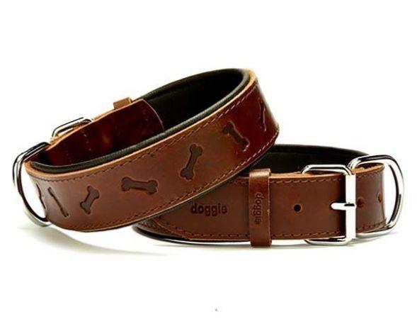 Doggie Comfort Deri Kemik Desenli Köpek Boyun Tasması Medium Kahverengi 4x52-60 Cm