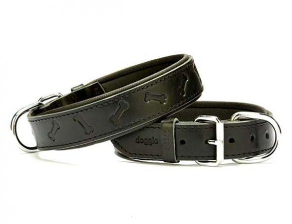 Doggie Comfort Deri Kemik Desenli Köpek Boyun Tasması Large Siyah 3.5x52-60 Cm