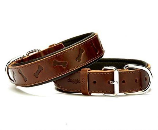 Doggie Comfort Deri Kemik Desenli Köpek Boyun Tasması Large Kahverengi 3.5x52-60 Cm