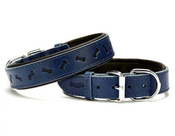 Doggie Comfort Deri Kemik Desenli Köpek Boyun Tasması Medium Mavi 3x42-50 Cm