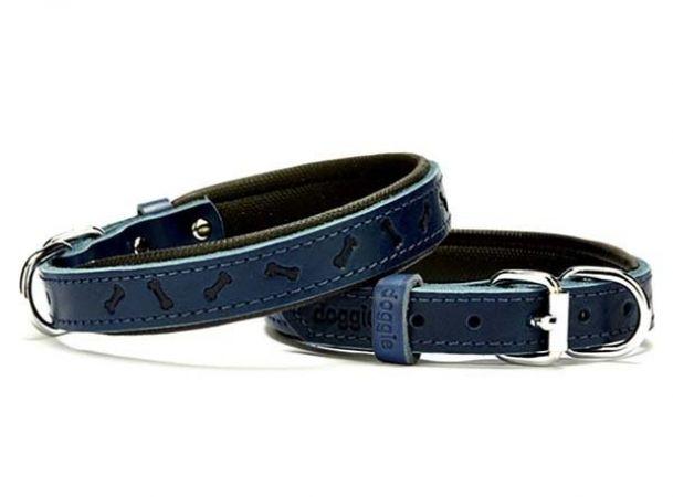 Doggie Comfort Deri Kemik Desenli Köpek Boyun Tasması Medium Mavi 2x35-40 Cm