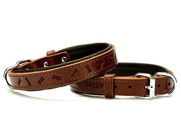 Doggie Comfort Deri Kemik Desenli Köpek Boyun Tasması Medium Kahverengi 2x35-40 Cm