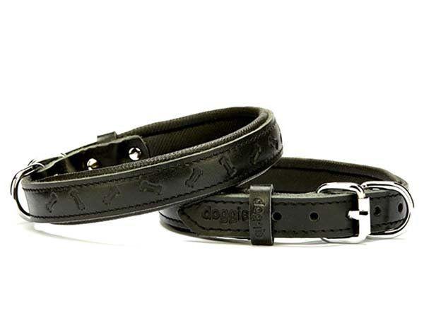 Doggie Comfort Deri Kemik Desenli Köpek Boyun Tasması Medium Siyah 2x35-40 Cm