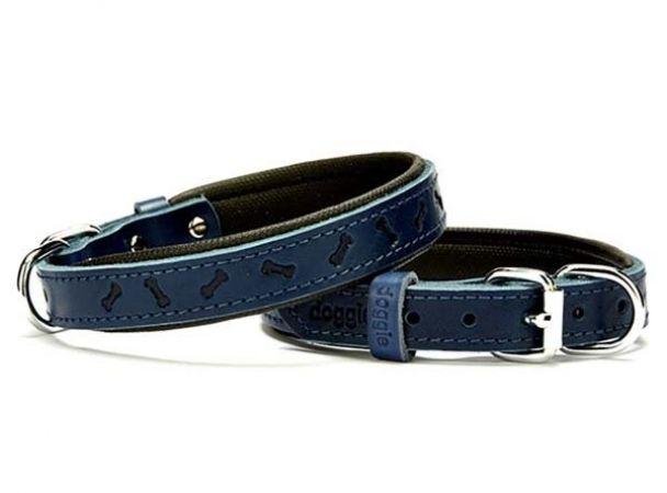 Doggie Comfort Deri Kemik Desenli Köpek Boyun Tasması Small Mavi 2x30-35 Cm