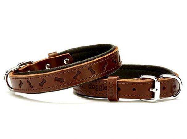 Doggie Comfort Deri Kemik Desenli Köpek Boyun Tasması Small Kahverengi 2x30-35 Cm