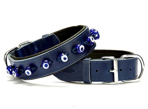 Doggie Comfort Deri Nazar Boncuklu Köpek Boyun Tasması Large Mavi 4x57-65 Cm