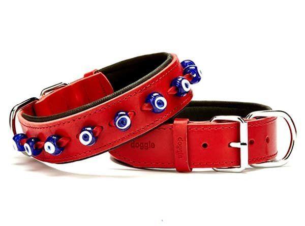 Doggie Comfort Deri Nazar Boncuklu Köpek Boyun Tasması Large Kırmızı 4x57-65 Cm