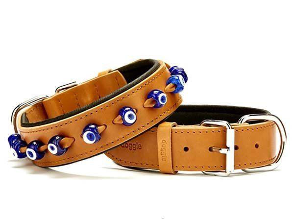 Doggie Comfort Deri Nazar Boncuklu Köpek Boyun Tasması Medium Camel 4x52-60 Cm