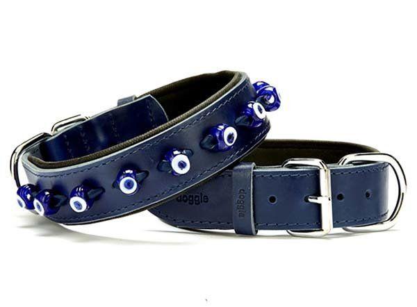 Doggie Comfort Deri Nazar Boncuklu Köpek Boyun Tasması Medium Mavi 4x52-60 Cm