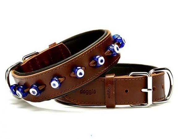 Doggie Comfort Deri Nazar Boncuklu Köpek Boyun Tasması Medium Kahverengi 4x52-60 Cm