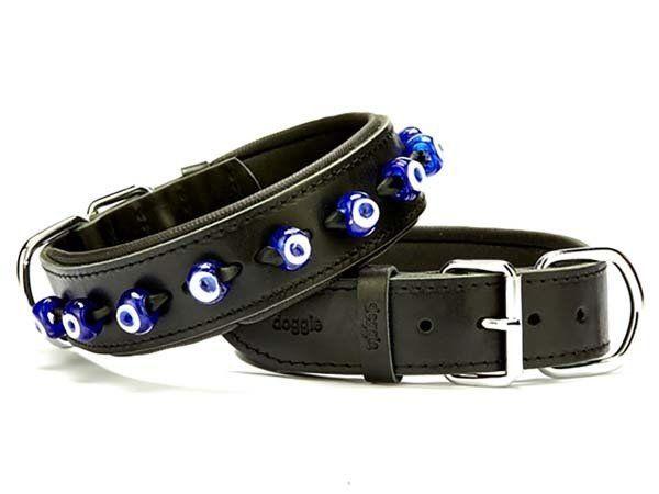 Doggie Comfort Deri Nazar Boncuklu Köpek Boyun Tasması Medium Siyah 4x52-60 Cm