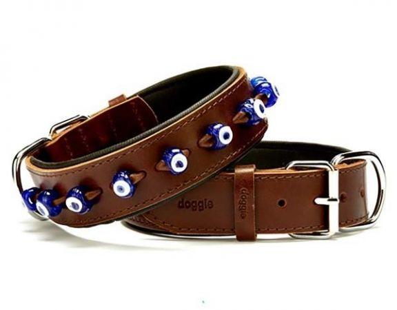 Doggie Comfort Deri Nazar Boncuklu Köpek Boyun Tasması Small Kahverengi 4x47-55 Cm