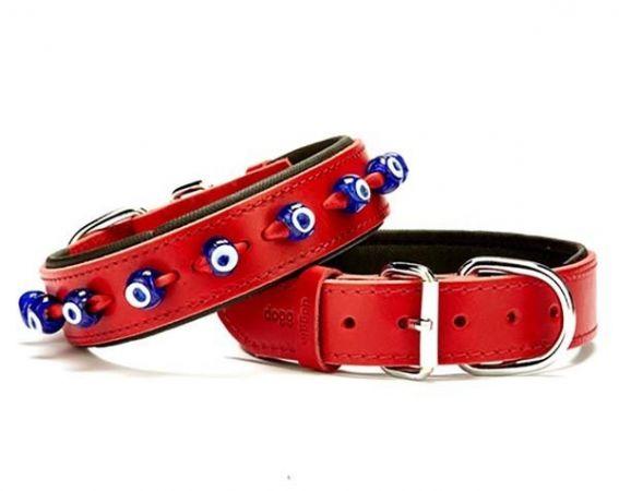 Doggie Comfort Deri Nazar Boncuklu Köpek Boyun Tasması Medium  Kırmızı 3.5x47-55 Cm