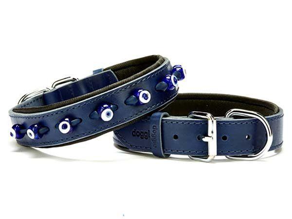 Doggie Comfort Deri Nazar Boncuklu Köpek Boyun Tasması Medium Mavi 3x42-50 Cm