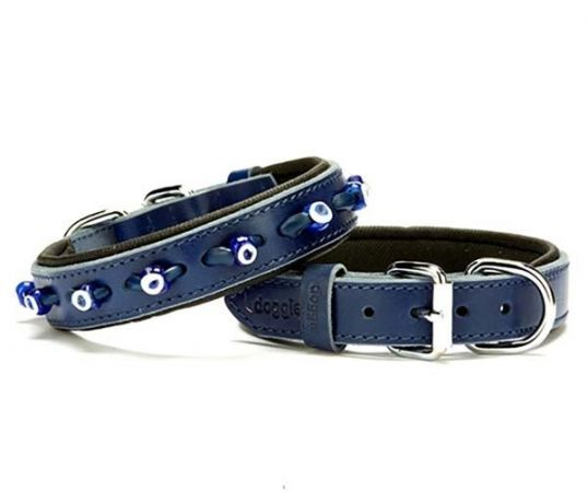 Doggie Comfort Deri Nazar Boncuklu Köpek Boyun Tasması Medium Mavi 2.5x37-45 Cm
