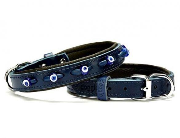Doggie Comfort Deri Nazar Boncuklu Köpek Boyun Tasması Medium Mavi 2x35-40 Cm
