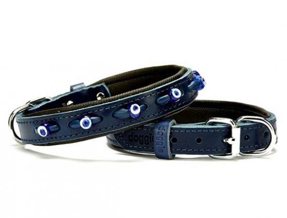 Doggie Comfort Deri Nazar Boncuklu Köpek Boyun Tasması Medium Mavi 2x30-35 Cm