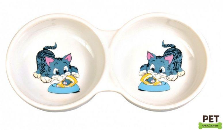 Trixie Kedi Mama Su Kabı, Porselen 2X0,15Lt