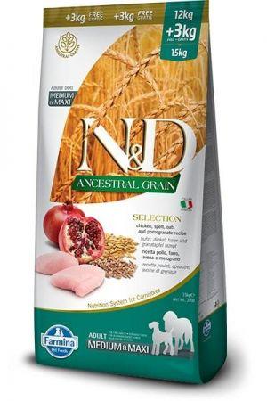 N&D Düşük Tahıllı Tavuklu Orta ve Büyük Irk Yetişkin Köpek Maması 12 Kg (+3 Kg Hediyeli)